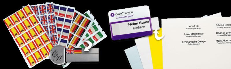 Étiquettes et Inserts pour badges nominatifs
