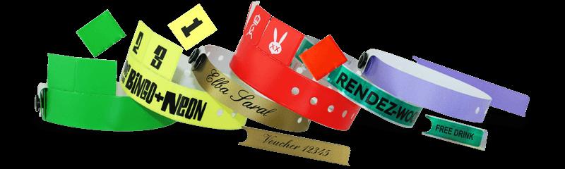 Bracelets événementiels avec onglets ou tickets détachables