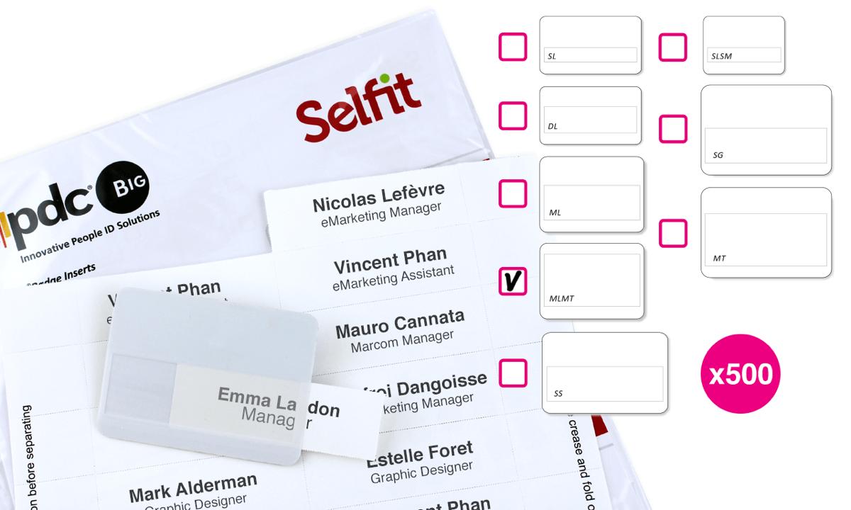 Pack de 500 Inserts pour Badge Selfit® Megatag, 75 x 36 mm