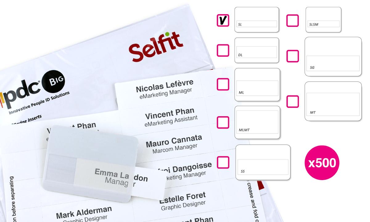 Pack de 500 Inserts pour Badge Selfit® Simple Ligne, 70 x 12 mm