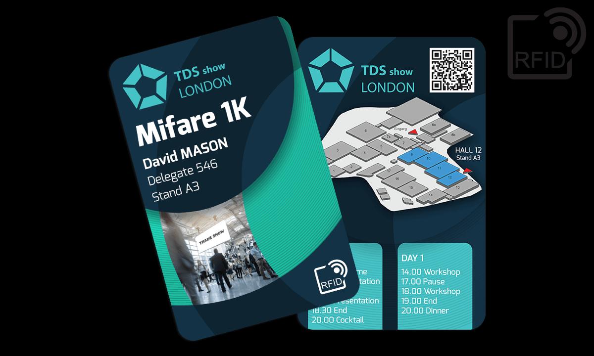 Cartes RFID 133 x 85 mm Imprimées - Puce Mifare 1K