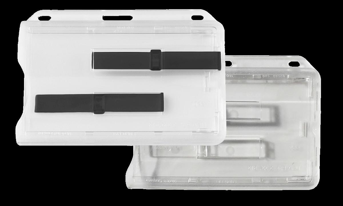 Porte-Badge Premium avec Glissières d'Extraction pour 2 Cartes - Horizontal