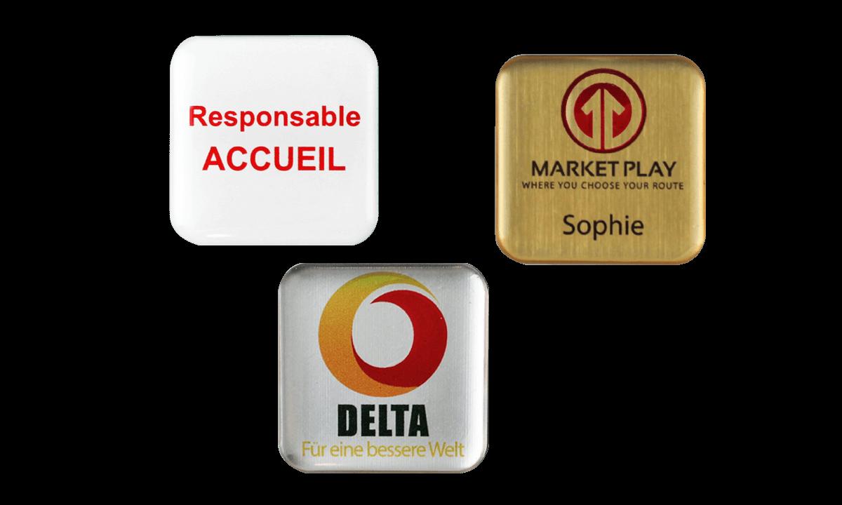 Badges nominatifs Premium Impress, 32 X 32 mm