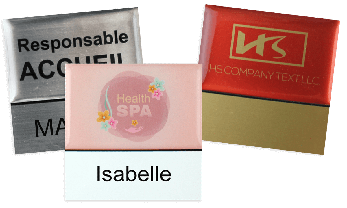 Badges nominatifs Premium Réutilisables pour étiquettes adhésives 18 mm, 50 X 50 mm