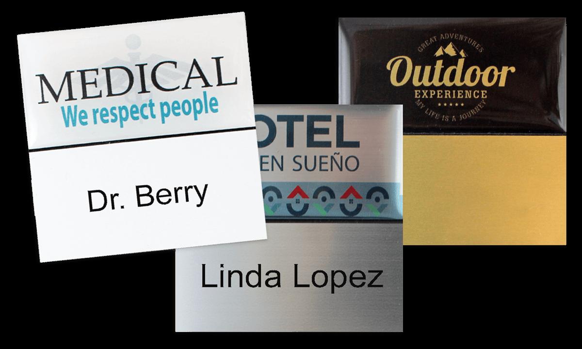 Badges nominatifs Premium Réutilisables pour étiquettes adhésives 24 mm, 50 X 50 mm