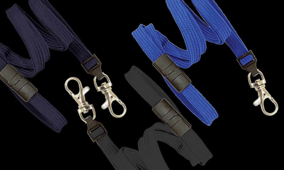 Cordons tubulaires 10mm avec attache anti-étranglement et mousqueton cliquet