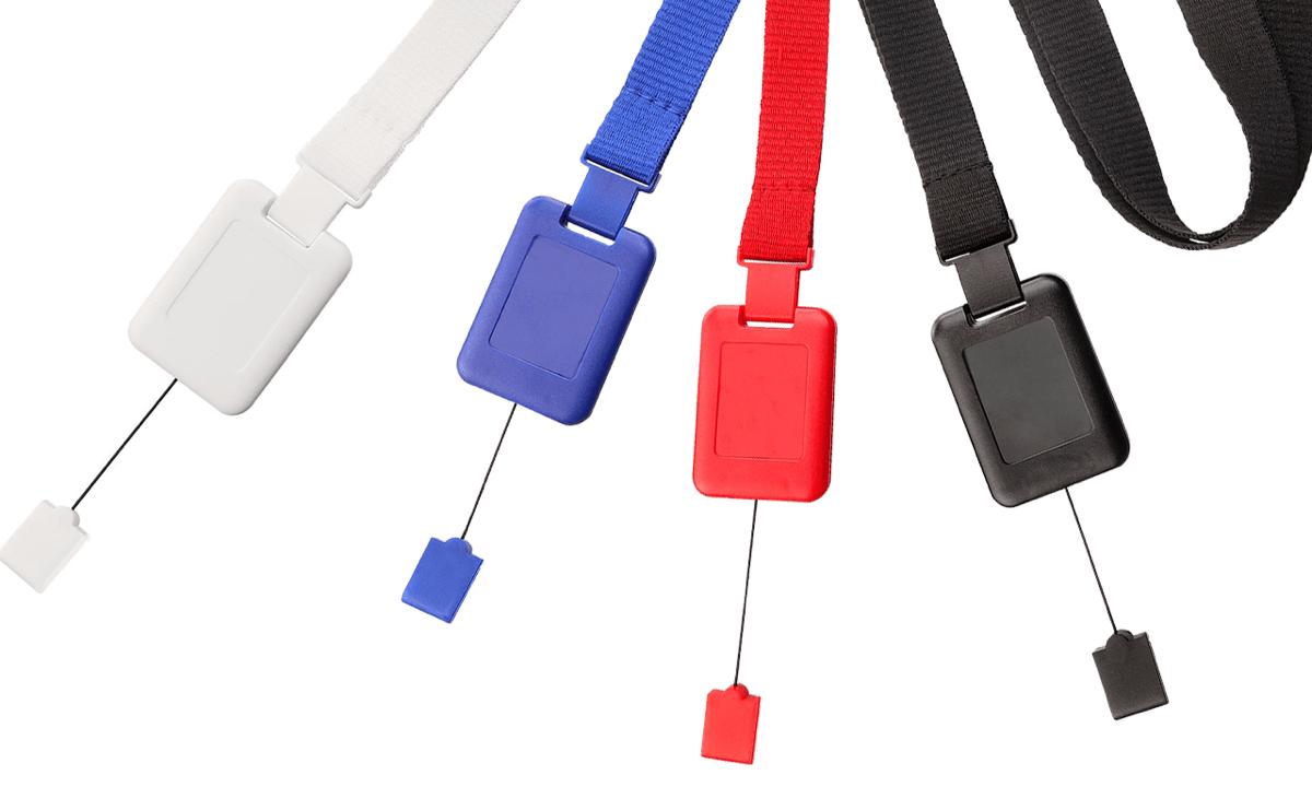 Tours de cou plats 16mm avec attache anti-étranglement et enrouleur zip détachable