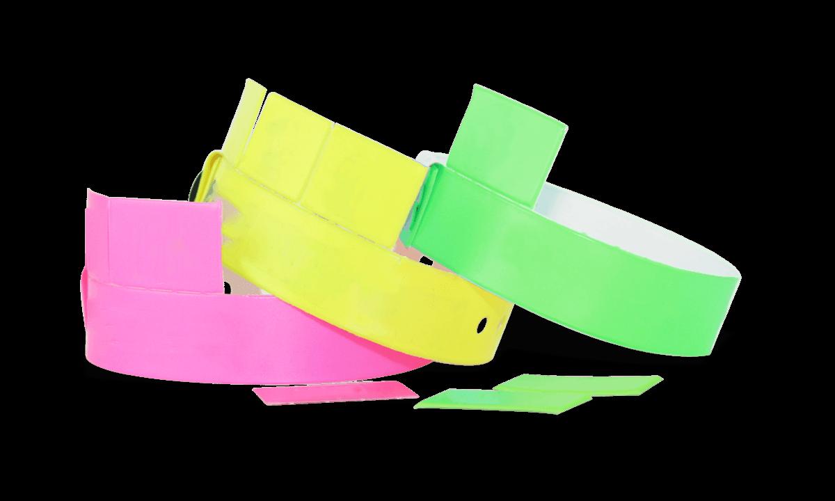 Bracelets en Vinyle avec 3 onglets détachables, 19 mm, sans impression