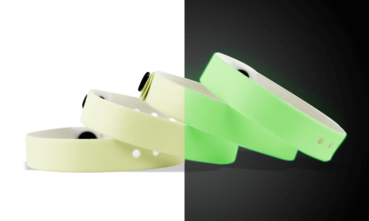 Bracelets en vinyle phosphorescent, 13 mm, sans impression