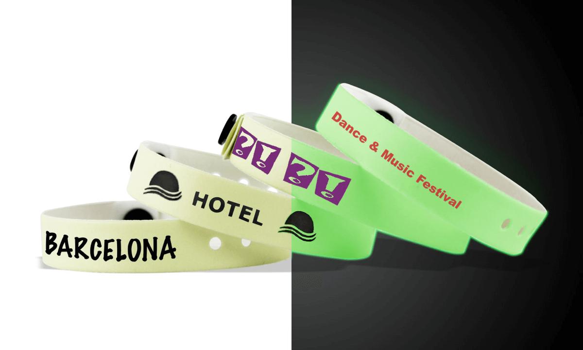 Bracelets en vinyle phosphorescent, 13 mm, avec impression en 1 couleur