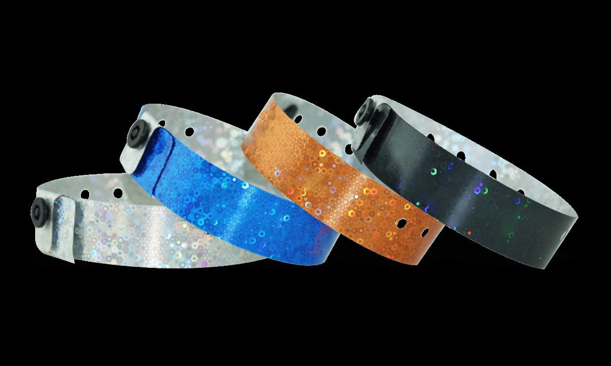 Bracelets Holographiques, 19 mm, motif métallique pailleté, sans impression