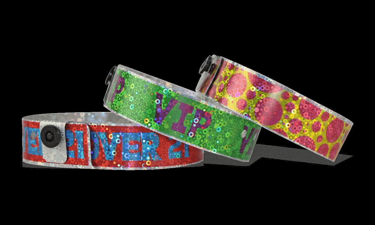 Bracelets Holographiques, 19 mm, motif métallique pailleté, avec impression digitale en couleurs