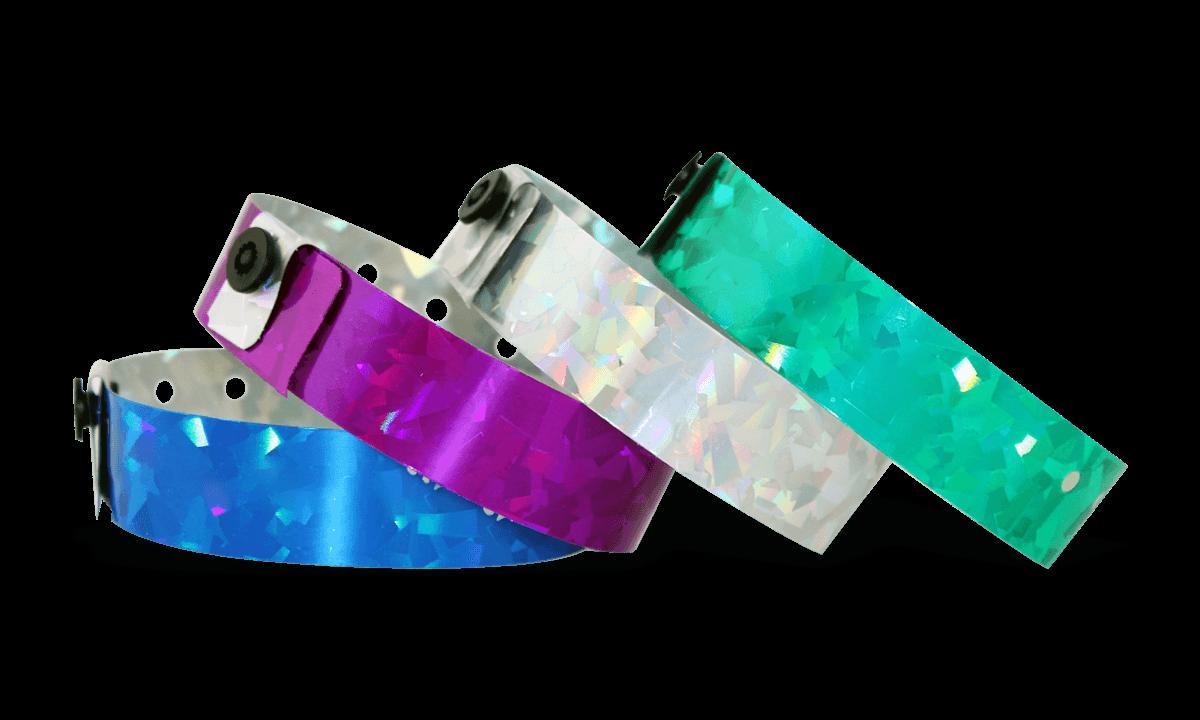 Bracelets Holographiques, 19 mm, motif métallique diamanté, sans impression