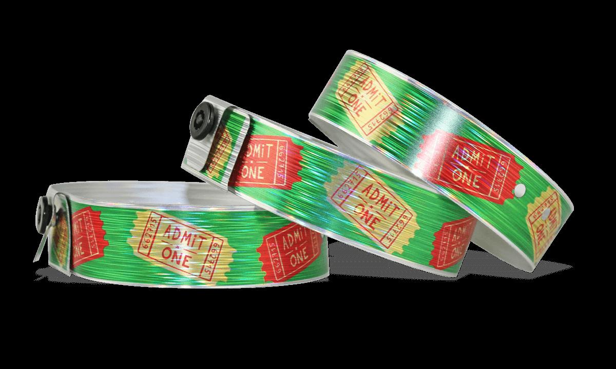 Bracelets Holographiques, 19 mm, motif métallique strillé, avec impression digitale en couleurs