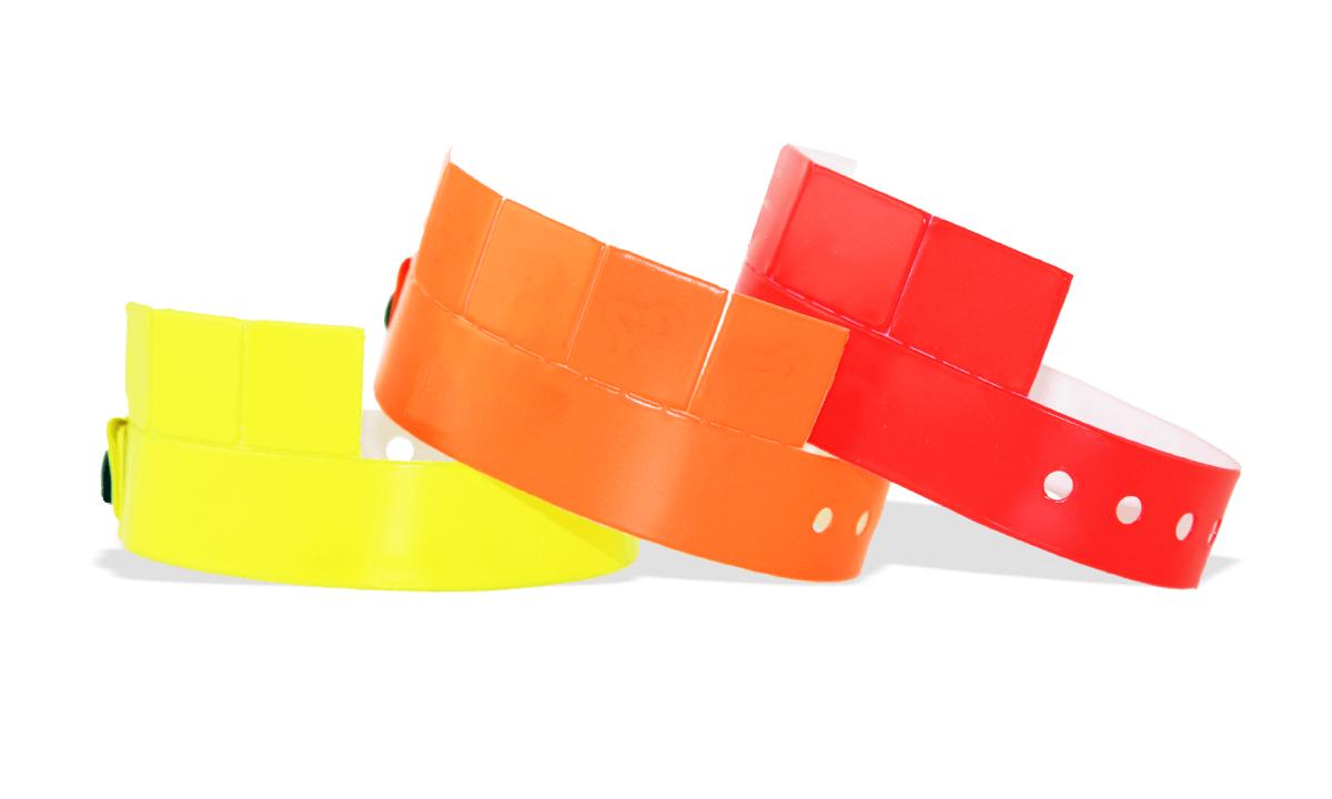 Bracelets en Vinyle avec 5 onglets détachables, 19 mm, sans impression