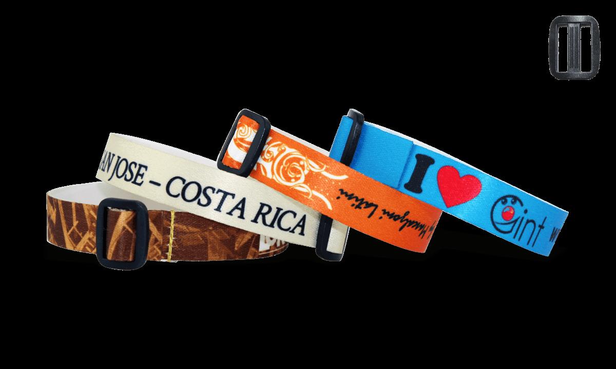 Bracelets en satin ave boucle en plastique réutilisable (Roma)