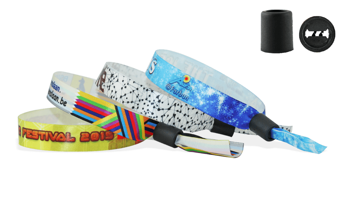 Bracelets en satin avec fermeture coulissante en plastique (Woodstock)