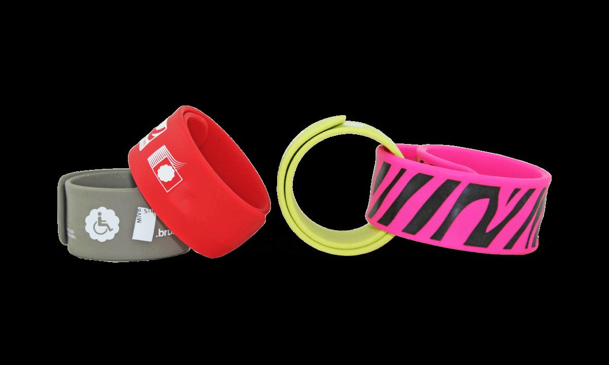 Bracelets Slap en Silicone, 25 x 230 mm