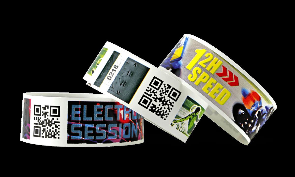 Bracelets à code-barres avec impression digitale en couleur, TPS 25 mm (Finition mate)