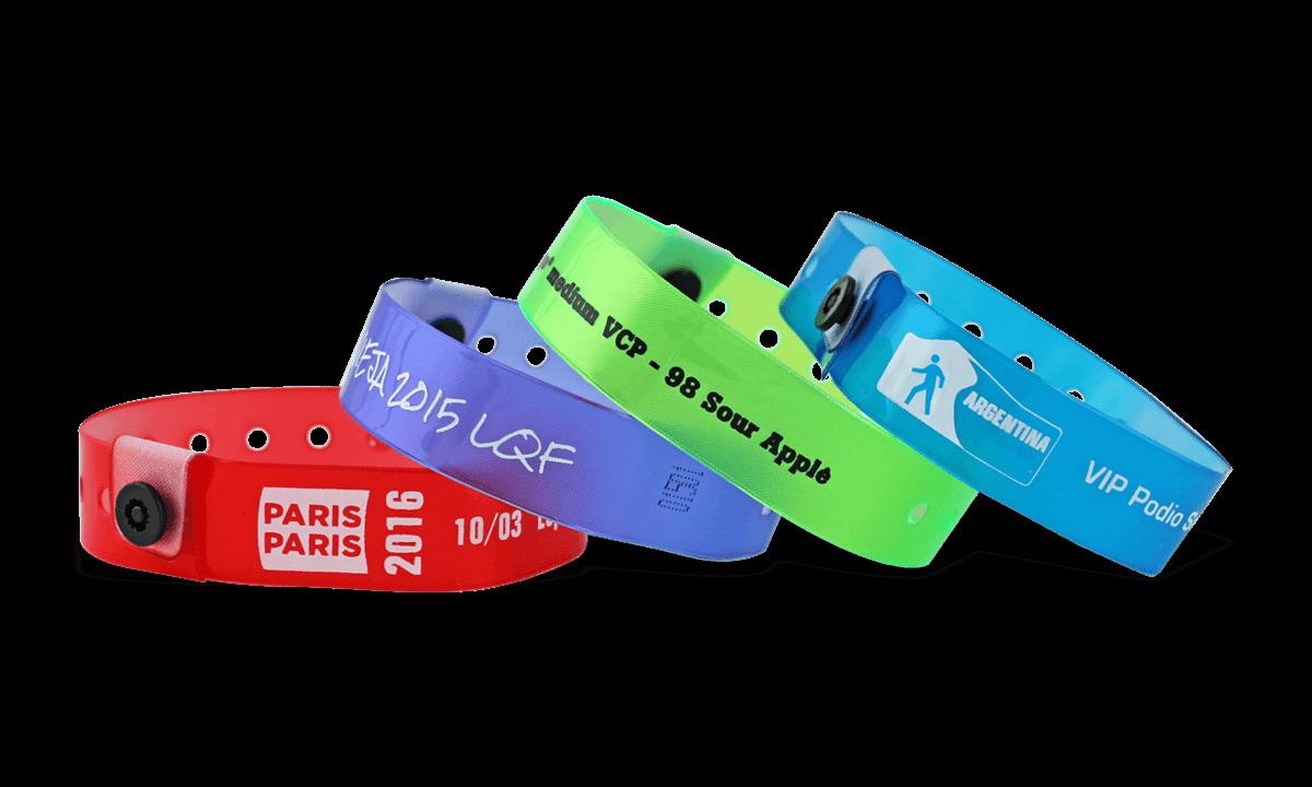 Bracelets en vinyle translucide, 19 mm, imprimés