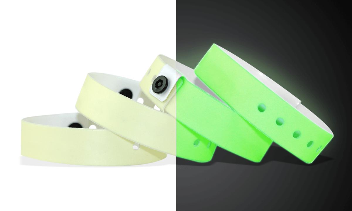 Bracelets en vinyle phosphorescent, 19 mm, sans impression