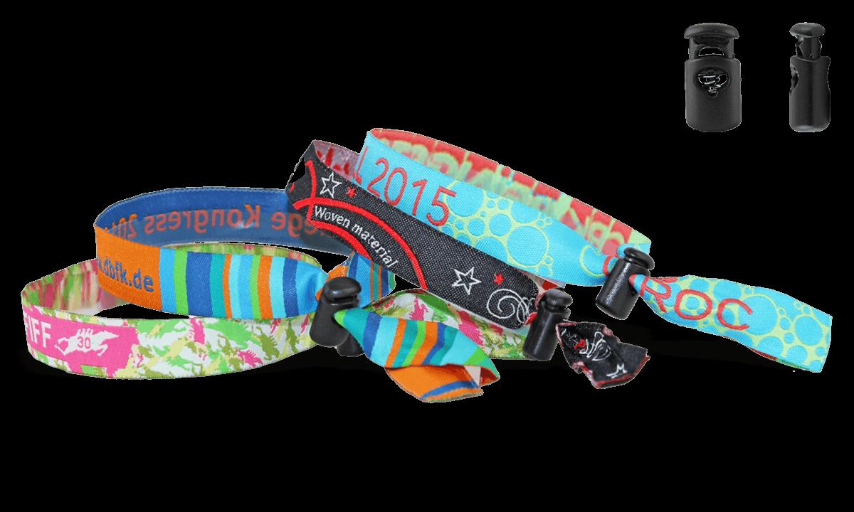 Bracelets en tissu avec fermeture coulissante en plastique réutilisable (Venice)
