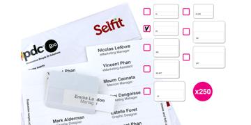 Pack de 250 Inserts pour Badge Selfit® Double Ligne, 70 x 18 mm