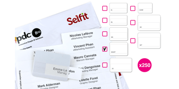 Pack de 250 Inserts pour Badge Selfit® Multiligne, 75 x 24 mm