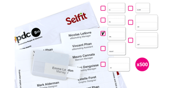 Pack de 500 Inserts pour Badge Selfit® Multiligne, 75 x 24 mm