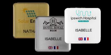 Badges nominatifs Premium Impress, 50 X 50 mm