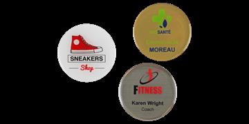 Badges nominatifs ronds Premium Impress, 50 mm