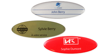Badges nominatifs Premium Impress, 75 X 32 mm - Oval