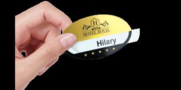 Badges réutilisables Selfit® PRO Simple ligne, 70 x 40 mm, forme ovale