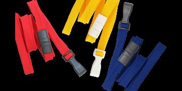 Cordons tubulaires 10mm avec attache anti-étranglement et mousqueton plastique