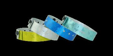 Bracelets Holographiques, 19 mm, motif métallique étoilé, sans impression