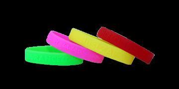 Bracelets en silicone en relief, taille moyenne / jeune