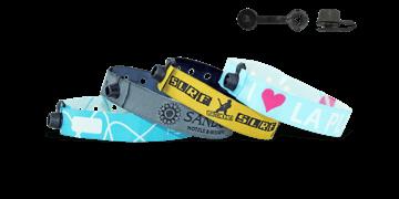 Bracelets en tissu avec fermeture ronde en plastique à pression (Nice)